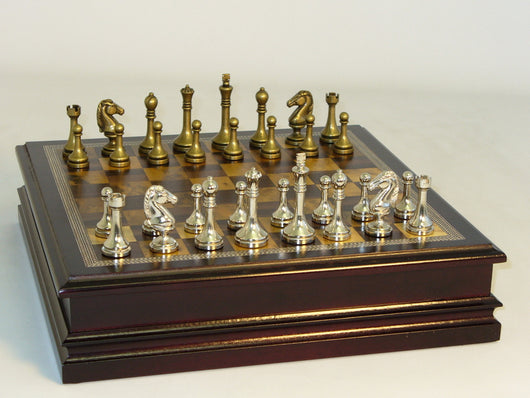 Metal staunton Chess Pieces in Wood Chest