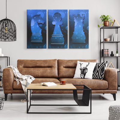 Knight, Pawn, Rook - 3 Piece Canvas wall art
