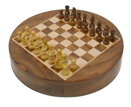 "9"" Round Magnetic Travel Wooden Chess Set"