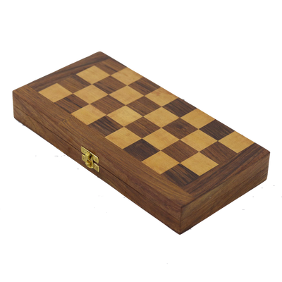 Babul Acacia Haldu Wood Chess Set with Storage