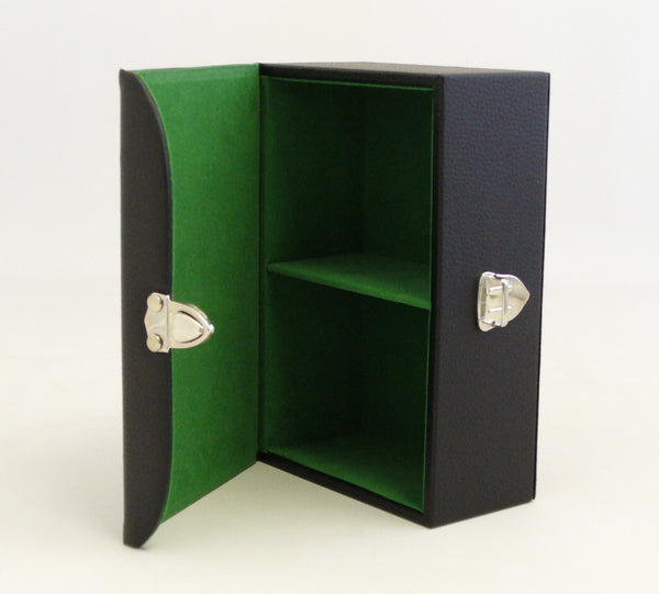 Black Vinyl Chess Storage Box with Felt Lined Interior