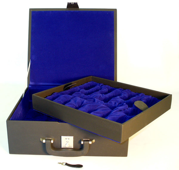Deluxe Black Vinyl Chess Pieces Storage Box with Slots and Blue Felt Lined Interior