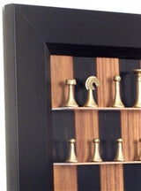Wall Mounted Chess Set with Black Walnut Chess Board