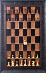 Wall Mounted Chess Set with Black Walnut Chess Board And Rustic Brown Frame