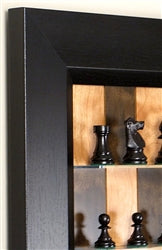 "Cherry Bean Board With 3"" Basic Chess Pieces and Flat Black Frame"
