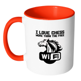 I love chess more than the free WiFi - Accent Mug