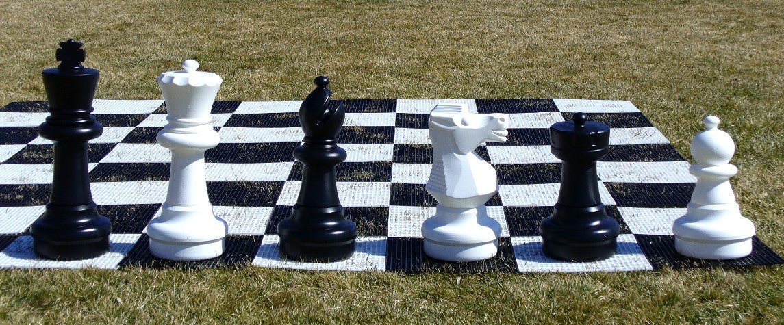 "25"" King Indoor / Outdoor Garden Chess Set with Plastic Grid Chess Board"