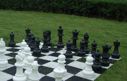 Indoor / Outdoor Garden Chess Set with Plastic Chess Mat
