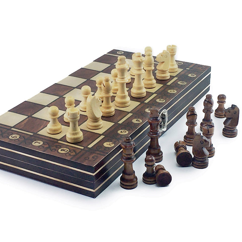 3 in 1 Magnetic Foldable chess, checkers and backgammon wooden board game set with Decorated and Marked borders