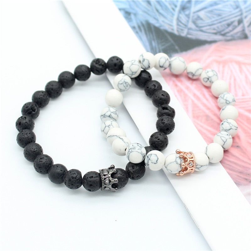 Handmade Natural Stone Beads Bracelets with King/Queen Crown