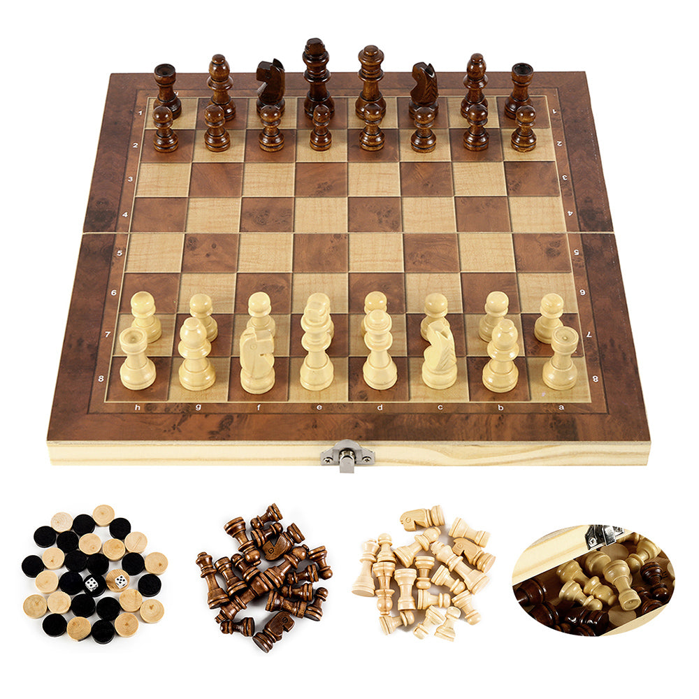 3 in 1 Foldable chess, checkers and backgammon wooden board game set