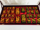 Painted Wood Small Maharaja Chess Pieces with Storage Box