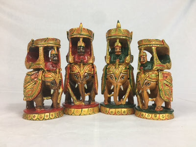 Painted Wood Maharaja Chess Pieces with Storage Box