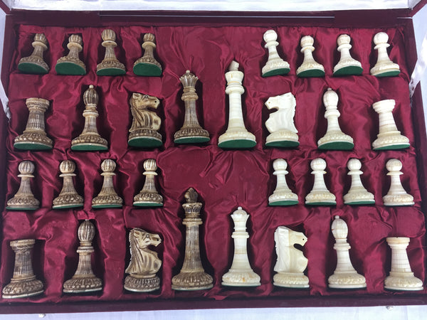 Carved Camel Bone Large Chess Pieces with Storage Box