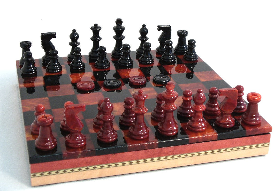 Alabaster Chess Set With  Inlaid Chess Chest