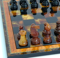Alabaster Chess Set With Wooden Inlaid Frame