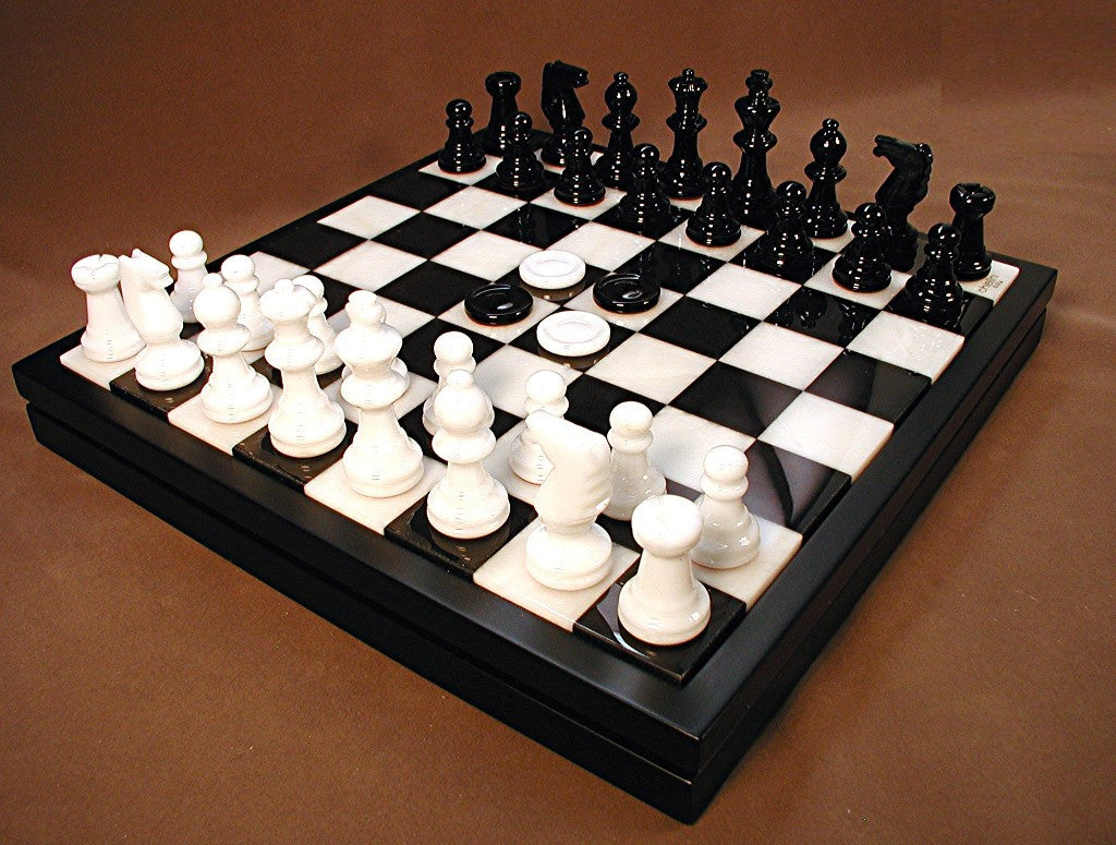 Alabaster Chess Set with Wooden Chest