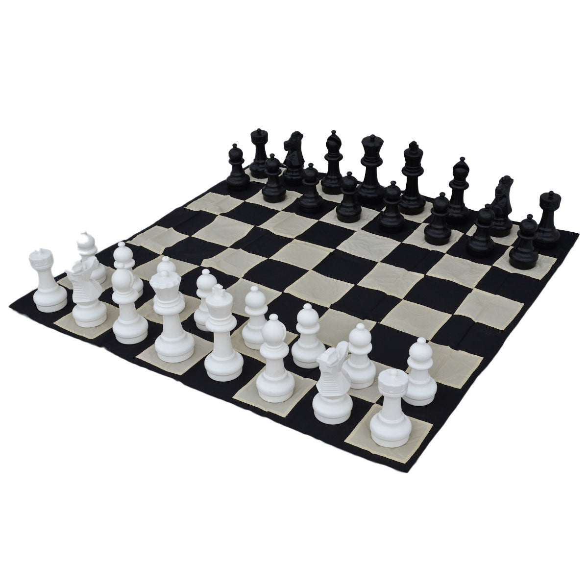 12 inch Indoor / Outdoor Garden Chess Set with Nylon Chess Mat