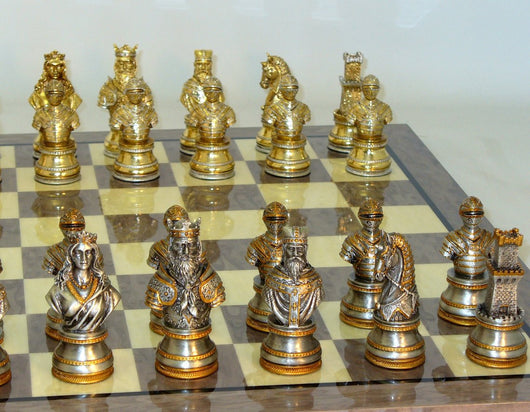 Camelot Pewter Chess Set With Elm Root Inlaid Board