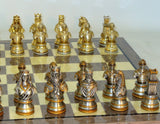 Camelot Pewter Chess Pieces With Grey Briar Chess Board
