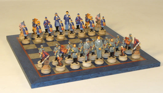 Civil War Generals Chess Pieces With Blue Grey Veneer Board