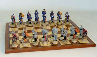 Civil War Generals Chess Pieces wth Sapele Maple Veneer Board