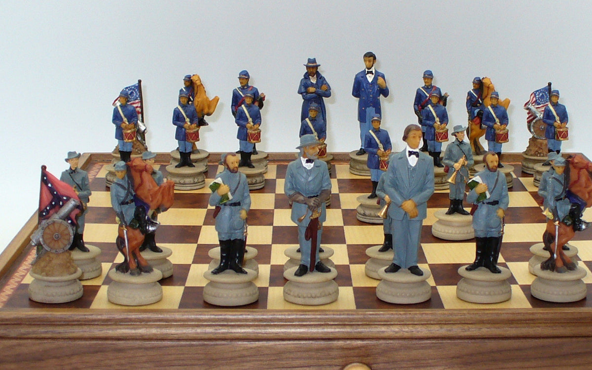 Civil War Generals Chess Pieces with Inlaid Chess Chest