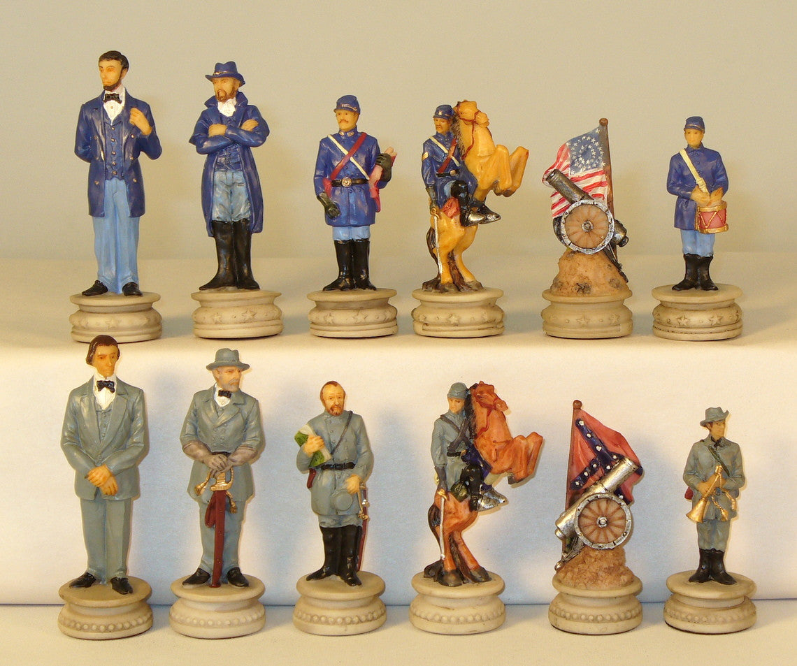Civil War Generals Chess Set with Grey Ivory Briar Board