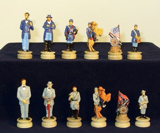 Civil War Generals Painted Resin Chessmen