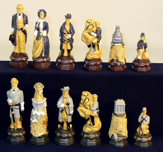 Civil War Painted Resin Chess Men