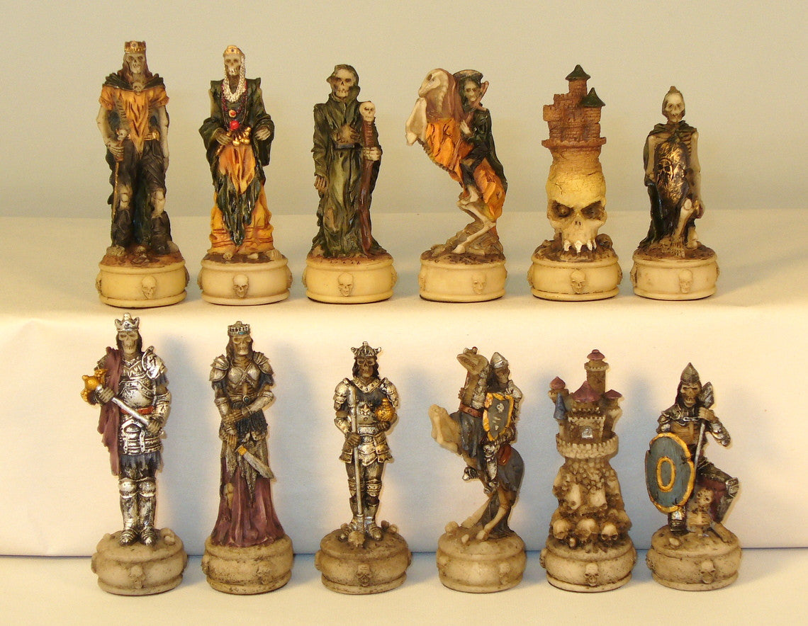 Skeleton Kings Painted Resin Chessmen