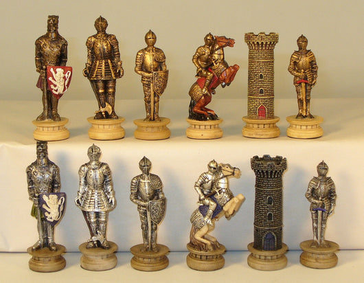 Knights in Armor Painted Resin Chess Pieces