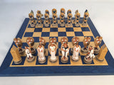 Angels Painted Resin Chess Pieces with Wood Veneer Chess Board