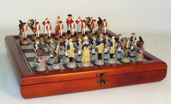 American Revolution Chessmen on Cherry Stained Chest