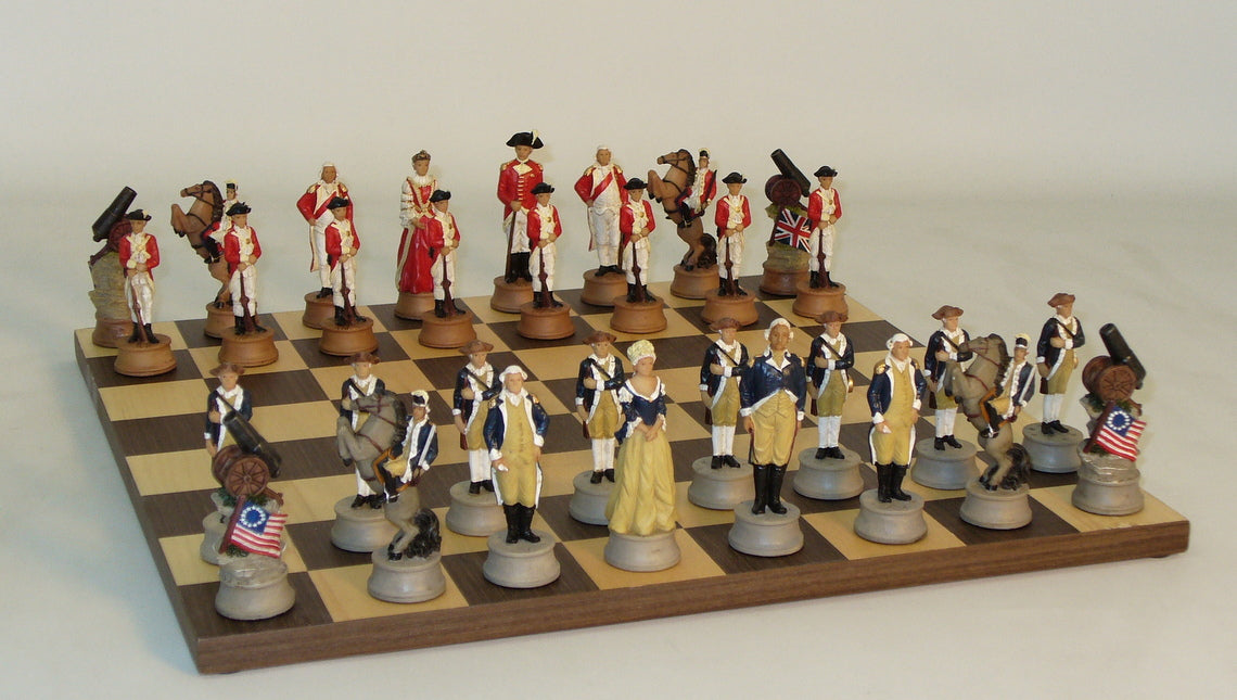 American Revolution Chess men on Dark Rosewood Board