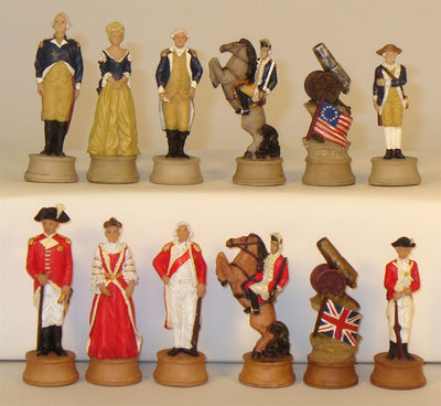 American Revolution Painted Resin Chessmen