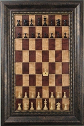 Red Cherry Chess Board with Antique Bronze Frame