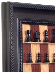 Red Cherry Chess Board in Traditional Brown Frame