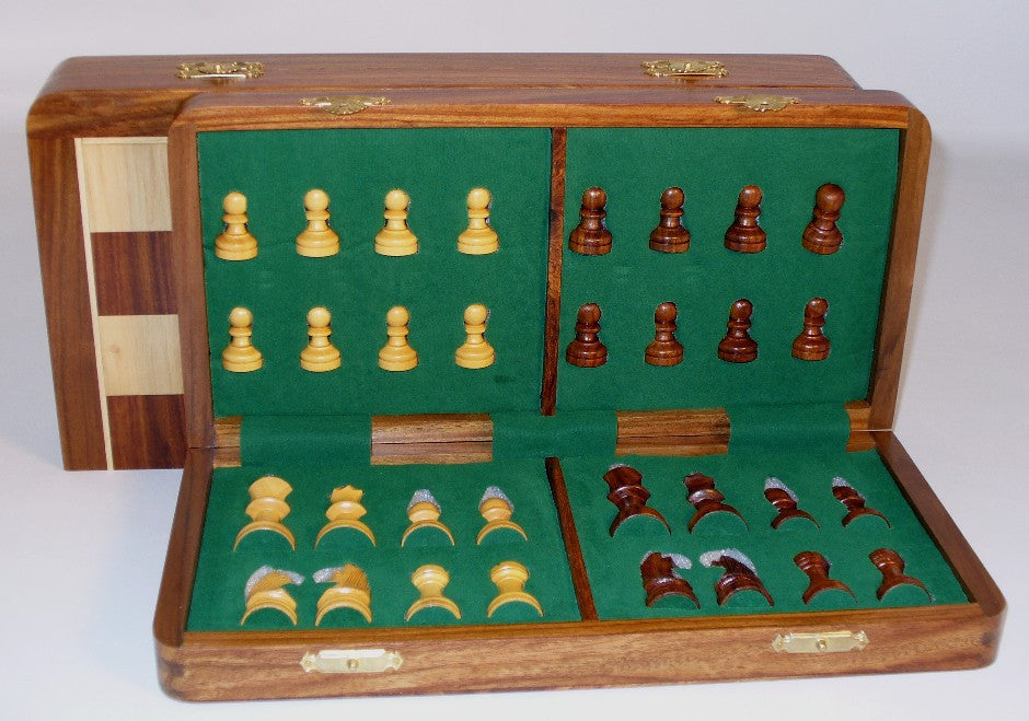 "16"" Folding wood Magnetic Chess"
