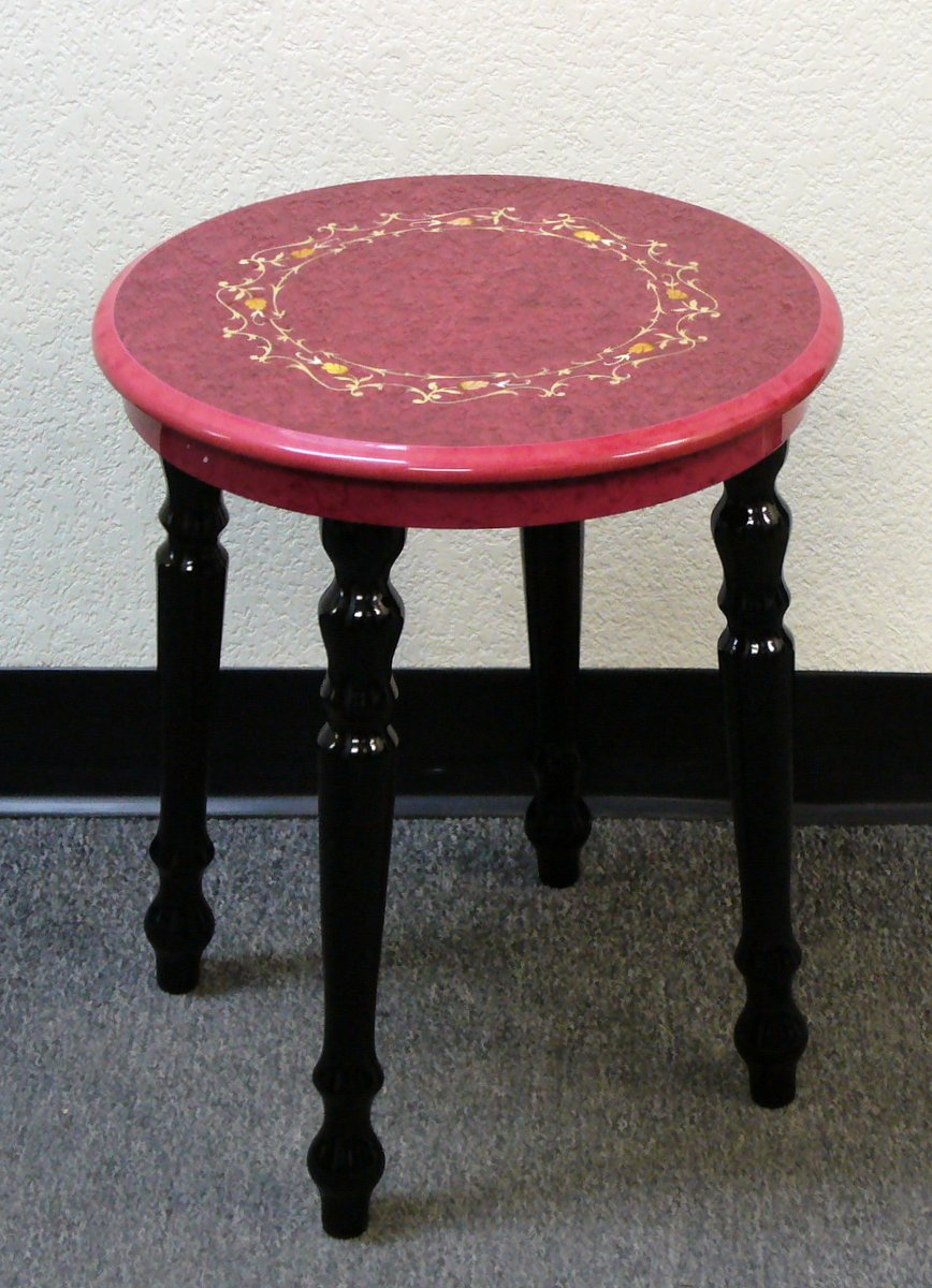 Floral Lacquered Briarwood Stool