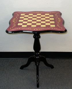 Sculpted Briarwood Wine Lacquered Chess Table - 1.5 Inch Squares