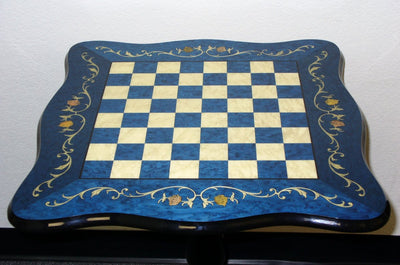 Sculpted Briarwood Blue Lacquered Chess Table - 1.5 Inch Squares