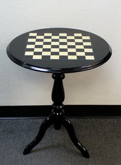 Round Briarwood Black and White Lacquered Chess Table