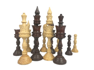 Tall Handcraft Wood Chess Pieces with Storage Box
