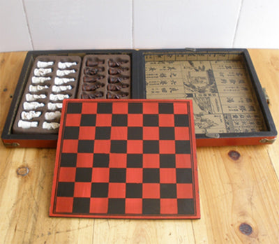 Terra-Cotta Warriors Chess Set with Retro Style Decorative Travel Box