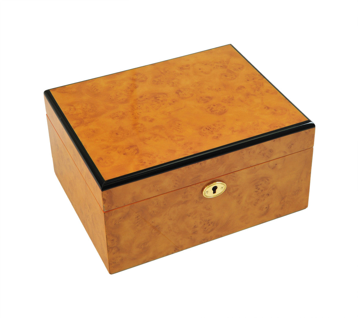 Burlwood Pattern Felt Lined Chess Box