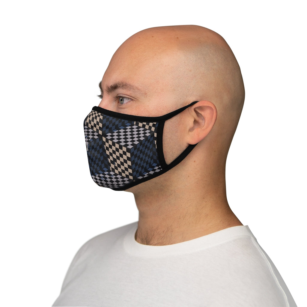 3 Dimensional chess cubes Fitted Polyester Face Mask