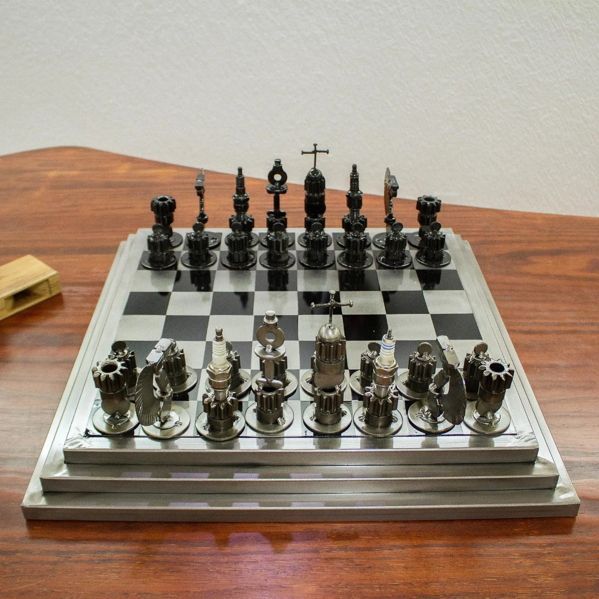 Upcycled Car Parts Chess Set - Hand Crafted in Mexico
