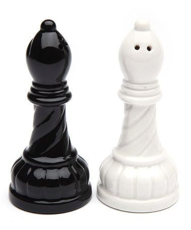 Bishop Salt and Pepper Set - Black and White