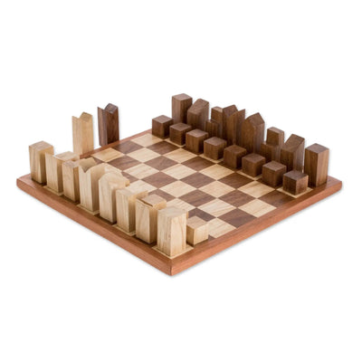 CityScape Modern Art Deco Wood Chess Set - Hand Crafted in Guatemala